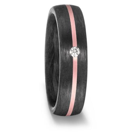 Alianza carbono negro con oro rosa y diamante.